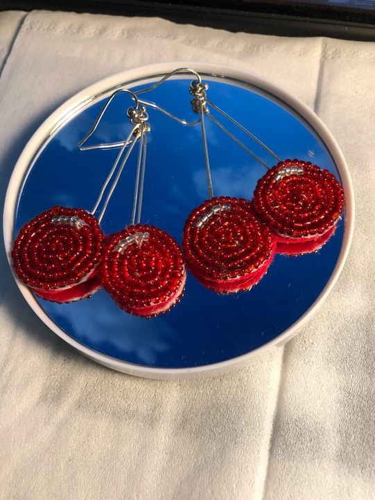 Image of Beaded Cherry Earrings
