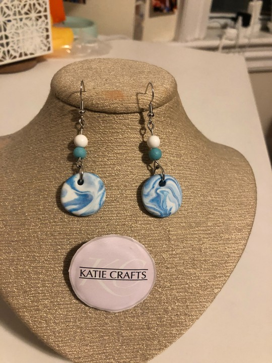Image of Groovy Clay Earrings (Blue)