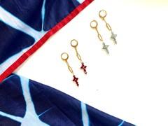 Image of Handmade Unique Cross Earrings (Blue)
