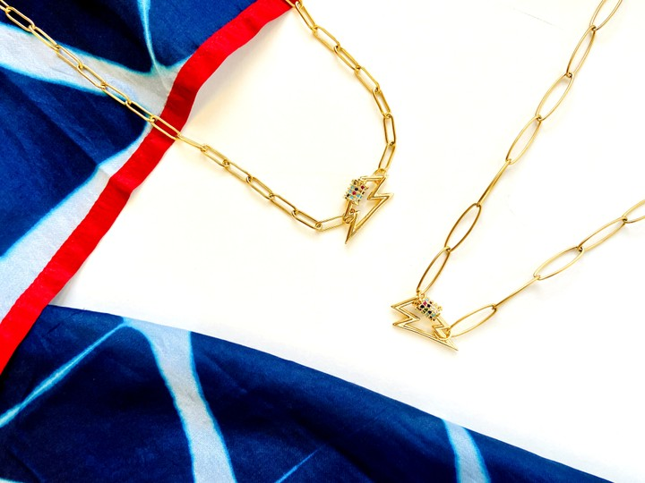 Image of Handmade Lightning Gold Chain Necklace (L)