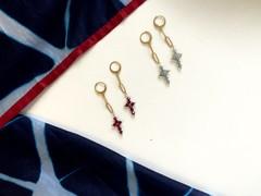 Image of Handmade Unique Cross Earrings (Red)