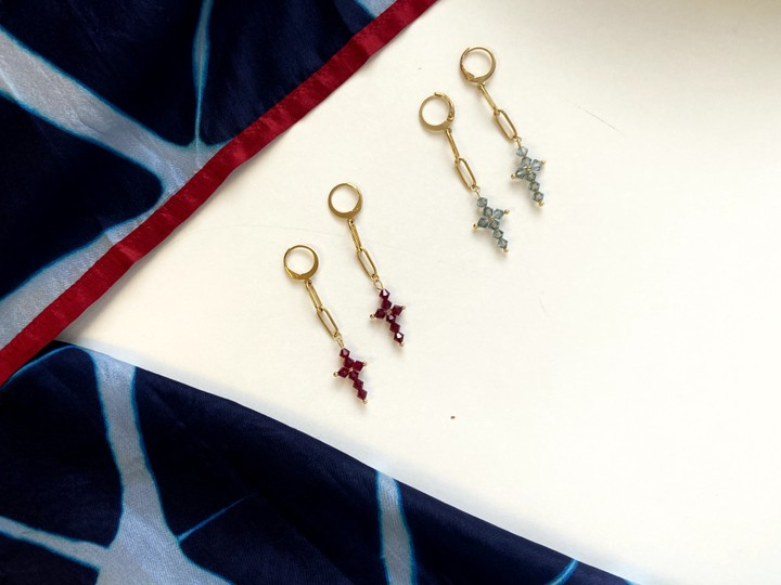 Image of Handmade Unique Cross Earrings (Red)