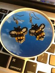 Image of Beaded Bee Earrings