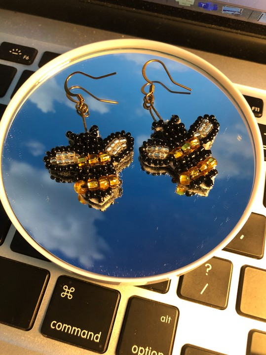 Image of Beaded Bee Earrings