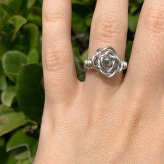 Image of silver rose ring