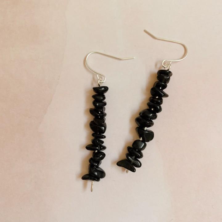 Image of black quartz earrings