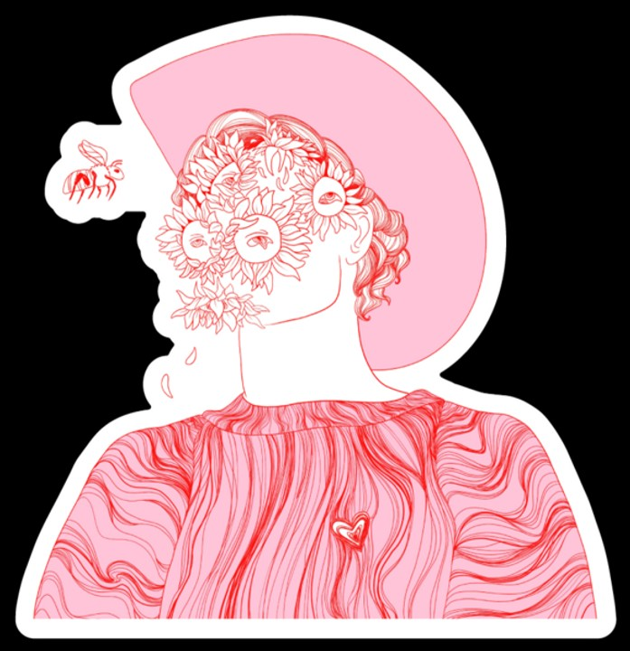 Image of Pink Flower Boy Sticker