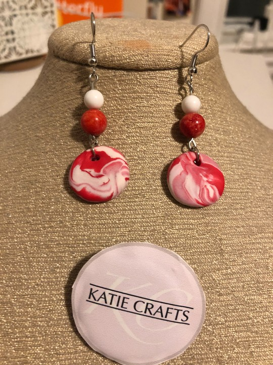 Image of Groovy Clay Earrings (Red)