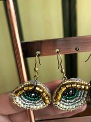 Image of Beaded Eye Earrings (Gold Eyelid, Green Iris)