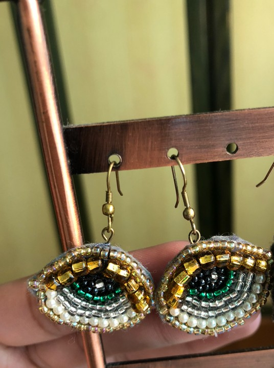 Image of Beaded Eye Earrings (Gold Eyelid, Green Iris)