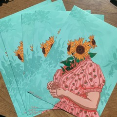 Image of Sunflower Plant Person Print