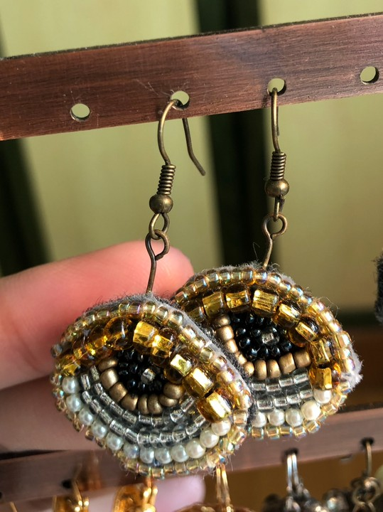 Image of Beaded Eye Earrings (Gold Eyelid, Gold Iris)