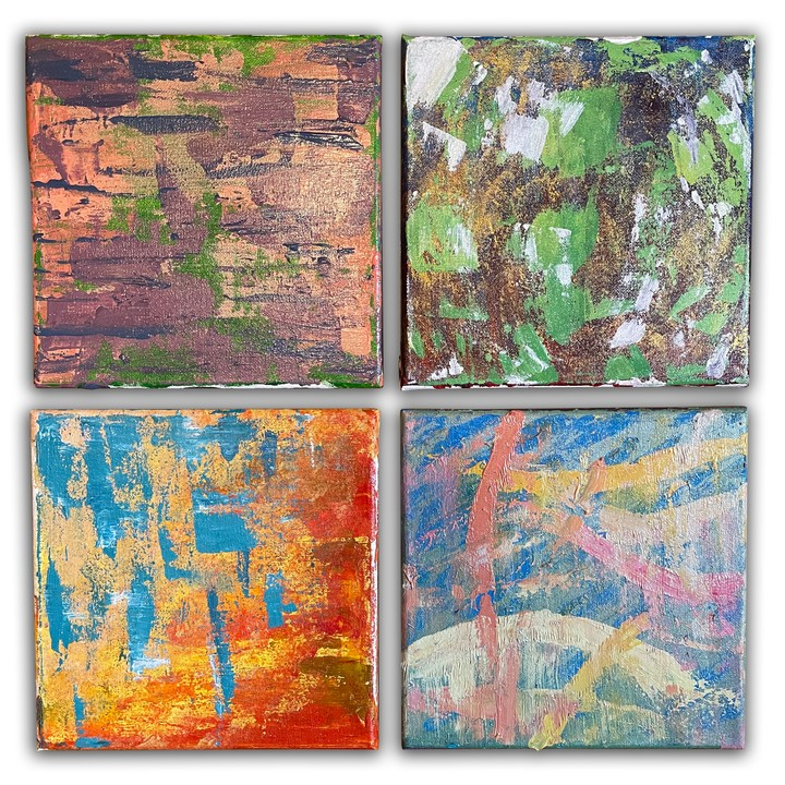 "Image of ""ABSTRACTS"" set of 4 8x8 stretched canvas"