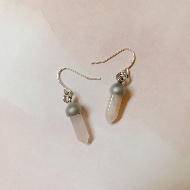 Image of rose quartz earrings
