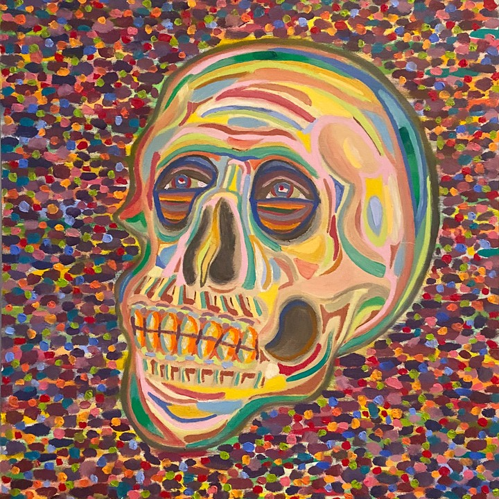 Image of 12 x 12 Skull Oil Painting Art Print