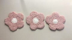 Image of Hand Tufted Pink Flower Rug Coasters (Set of 3)