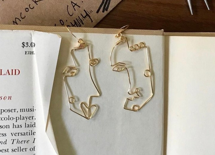 Image of Gold Face Earrings (@stolenforms)
